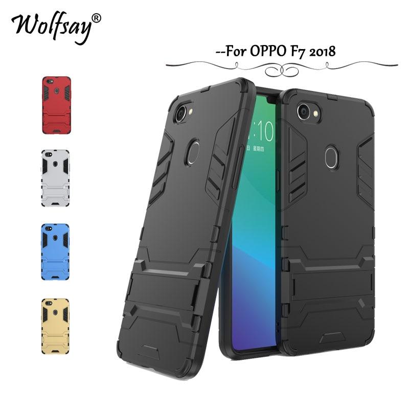Wolfsay Cover OPPO F7 Case OPPO F 7 Slim Robot Armor Rubber Capa FOR Phone Case OPPO F7 2018 Cases OPPO F7 Fundas 6.23 inch