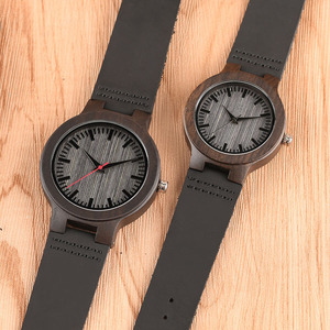 Image 4 - Minimalist Sandal Wood Watch for Couple Brand Design Black Real Leather Red/Black Second Hand Quartz Bracelet Sweetheart Gift