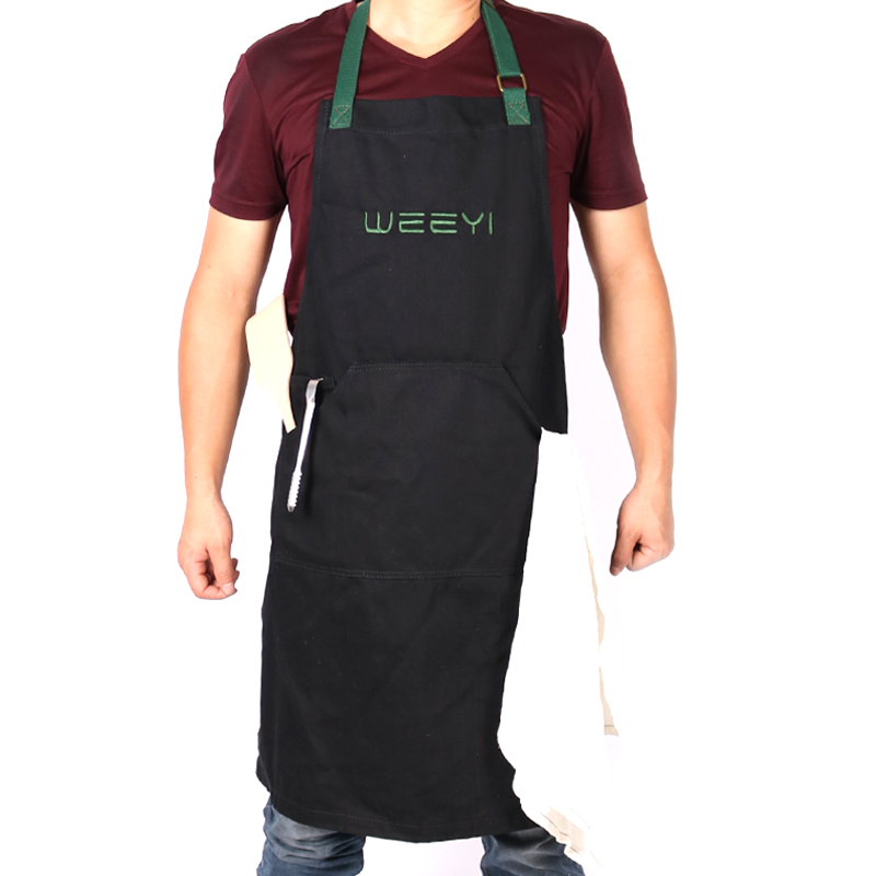 WEEYI Denim Apron Men with Extra Long Tie Washable Hygge Black&Blue Cotton Strap for Kitchen Cafe Bistro Barista Apron S to XXL