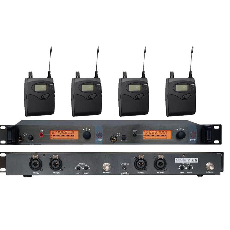 4 Pack Receivers + Wireless In Ear Monitor System, Professional Dual Channels Transmitter SR 2050 IEM ukingmei uk 2050 wireless in ear monitor system sr 2050 iem personal in ear stage monitoring 2 transmitter 2 receivers