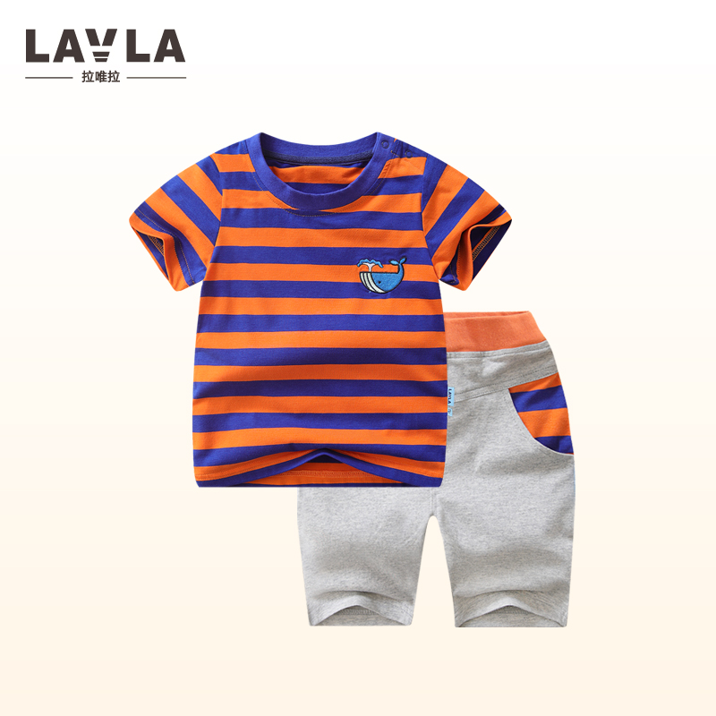 2017 New lavla Kids Boys summer suit short sleeved male baby two piece children 9M-5T summer Clothes sets tees+shorts sports set