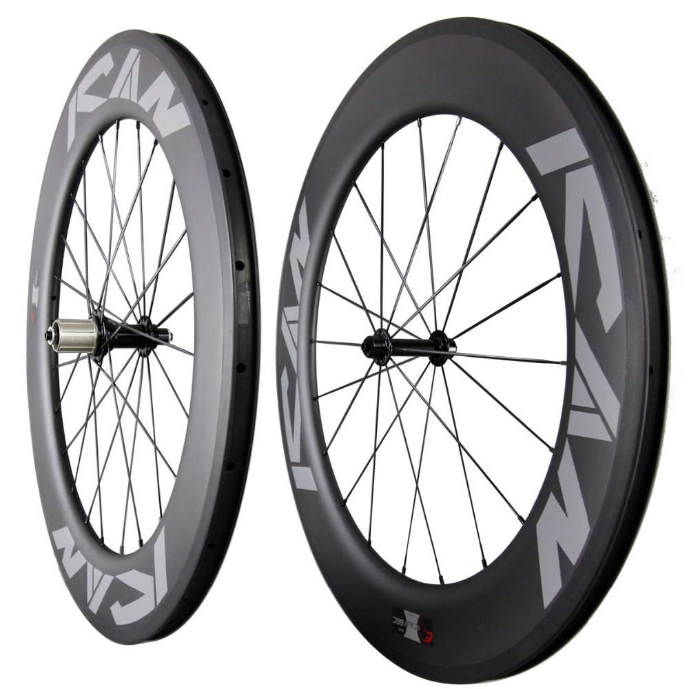 ICAN Carbon Road TT Bike Wheel 86mm klincher tubeless ready UD Matte - Cyklistika