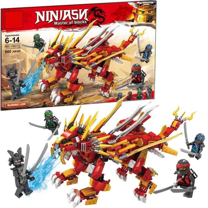 2018 nuevo templo Ninja dragón León Jay Mech DIY bloques de construcción juguetes educativos para niños regalos compatibles con legoings ninjago