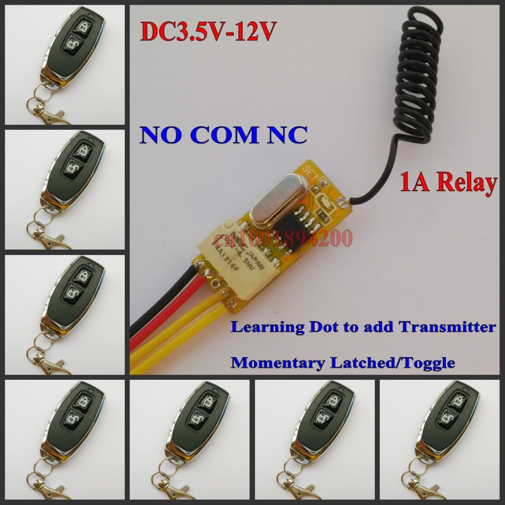 DC 3.5V-12V Micro Relay Receiver + Transmitter 3.7V 4.5V 5V 6V 7.4V 9V 12V Mini Remote Control Switch subminiature Lock Unlock high sensitivity small remote relay switch dc 3 5v 12v mini receiver with transmitter normally open close wireless switch top