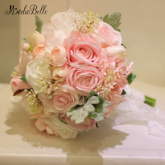 Modabelle newest style pink peony tulip artificial brides bouquet modabelle newest style pink peony tulip artificial brides bouquet lace handle wedding flowers bridal bouquets handmade mightylinksfo Gallery