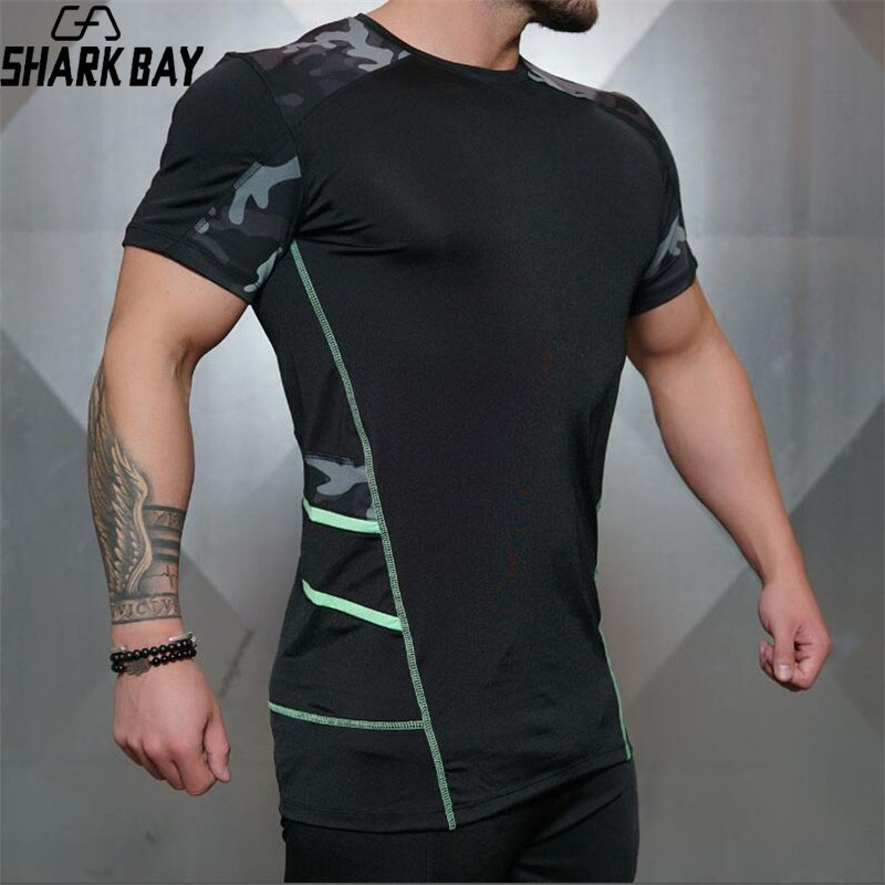 Shark Bay Mens fashion t shirt Spring summer new Leisure shirts Fitness Bodybuilding Long sleeve male personality Tops clothing