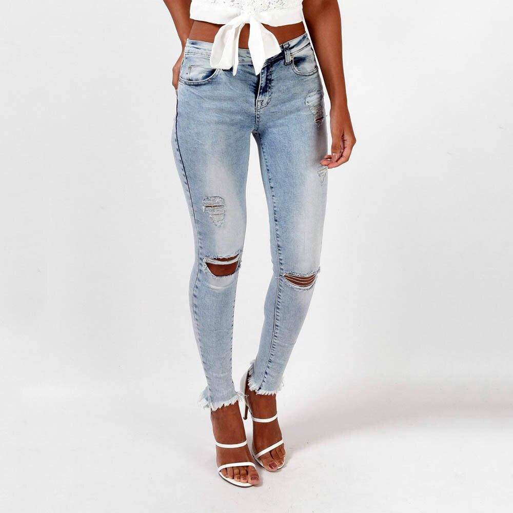 Women Pencil Pants   Jeans   Hole Casual Slim Fit 96% Cotton Autumn Winter Light Blue Female Clothing
