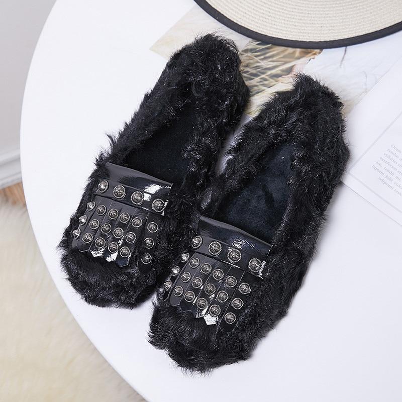 De Femmes grey Tassel Rivet Black Fringe Hiver Mujer Bateau Femme Mince Appartements Automne Zapatos Casual Chaussures Laine FTq1fwB