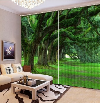 custom 3d cortinas Old trees curtains 3d stereoscopic living room 3d luxury curtains