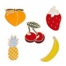 Personality Trend Brooch Pin Fruit Theme Yellow Peach Cherry Strawberry Pineapple Banana Clothes Hat Jewelry