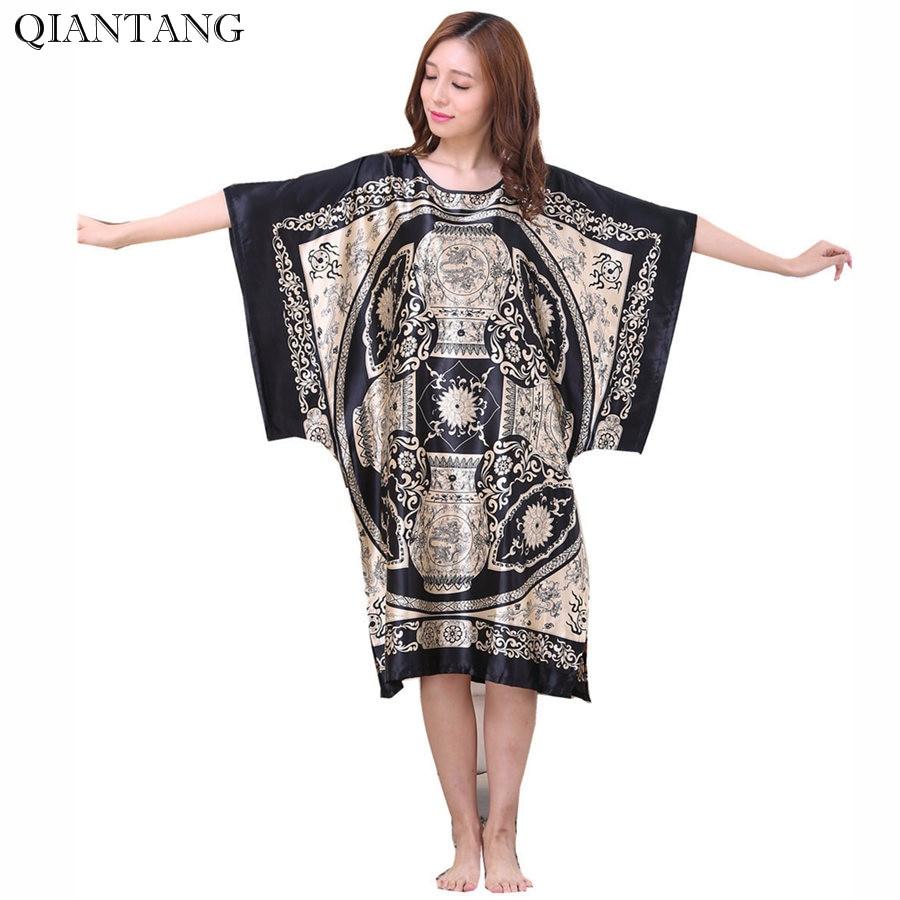 New Arrival Black Women's Faux Silk Robe Bath Gown Yukata Nightgown Sleepwear Sleepshirts Nuisette Pijama Mujer One Size TB08B