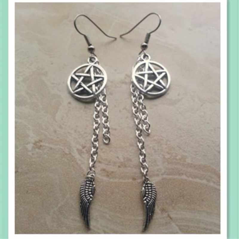 1PCS Supernatural Inspired Devil's Trap Pentagram and Angel Wing Charm Dangle Earring