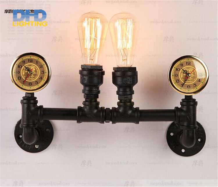 Free shipping Industrial Rustic Steampunk METAL PIPE Edison Bulb Vintage Wall Lamps Balcony E27 Rust wall sconce