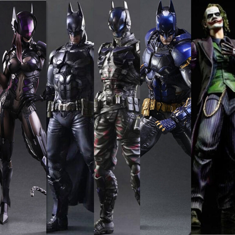 Batman Action Figure Play Arts Kai Arkham Catwoman Joker Toys PVC 270mm Anime Movie Model Bat Man Playarts Kai iron man action figure play arts kai the avengers grey ironman pvc toy 28cm anime movie model iron man playarts kai superhero