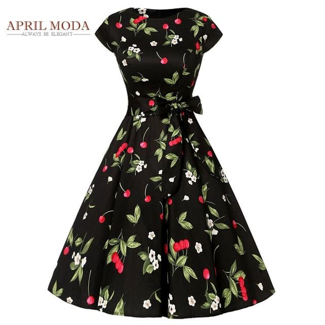 Black Red Cherry Women Pinup Party Dress Short Sleeve Cotton O Neck Elegant Summer Vintage 50s 60s Rockabilly Hepburn Dresses