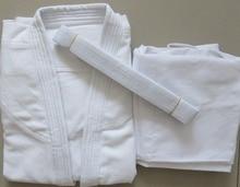 100% cotton jujitsu training suits 국제 표준 유도 의류 유니폼 성인 및 어린이 kung fu aikido clothes white