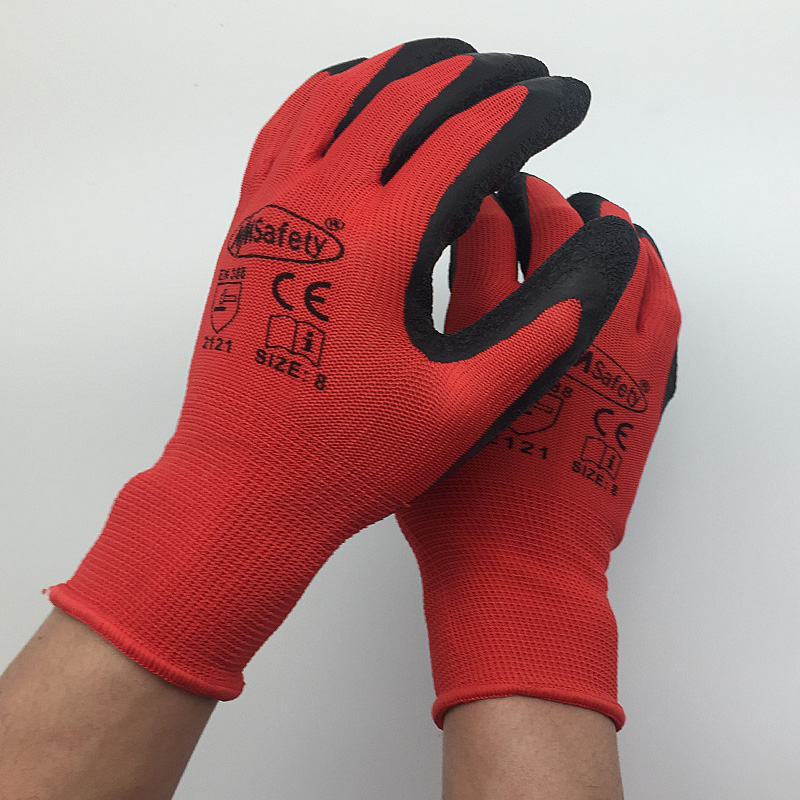 NMSafety Better Grip Ultra-Thin Knit Latex Dip Nylon Red Latex Coated Work Gloves