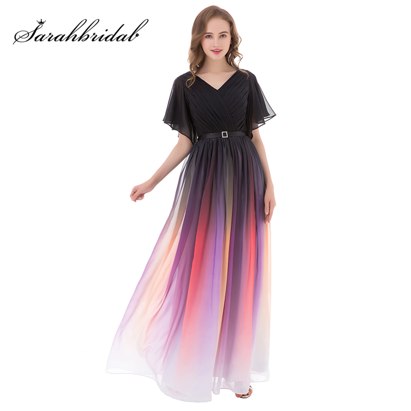 Popular Multi Color Long Evening Dresses Hot Sale Half Sleeve A Line Prom Dress Chiffon V