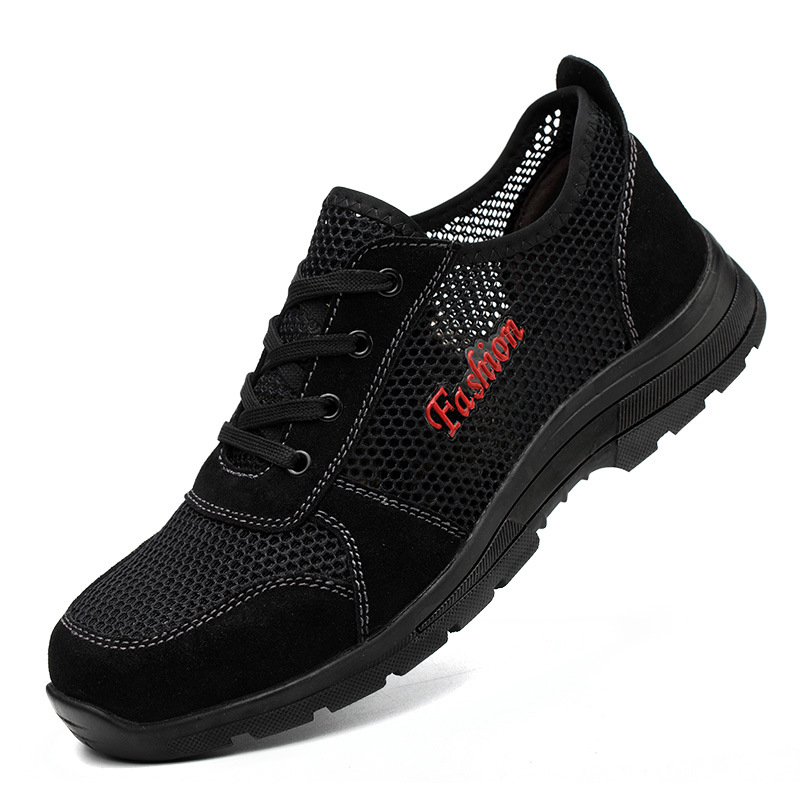 men big size breathable hollow mesh steel toe caps working safety shoes summer anti-pierce building site tooling security boots