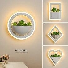 Современная светодиодная настенная лампа для гостиной, спальни, прикроватная лампа для коридора, прохода для балкона для одежды, декоративное искусство, растение, настенная лампа