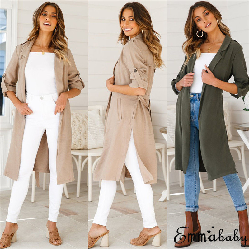 2018 Fashion Women Ladies Long Sleeve Coat Loose Open Front Draped Pockets   Trench   Mid Length Top Autumn Causal Classic Outerwear