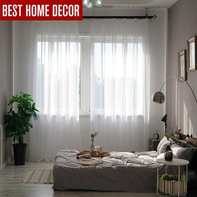 Elka solido bianco di tulle sheer tende della finestra per soggiorno camera da letto moderna tulle organza voile tende a buon mercato tende porta