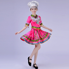 Female short and long design dance clothes chinese fold costume Ladies Miao clothings Hmong