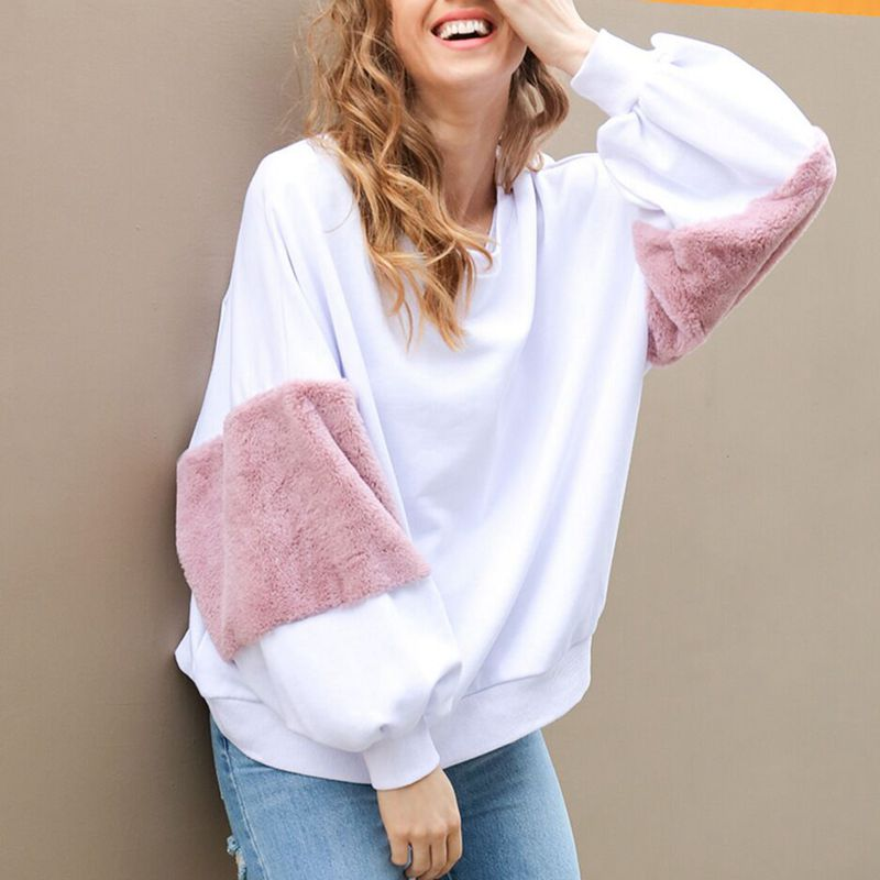 CFYH Lantern Sleeve Loose Cony hair Jumpers Casual Patchwork Warm Women and Pullovers High Quality