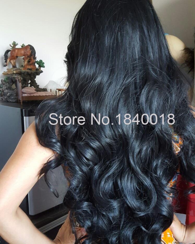 sylvia 1b svart kroppsvåg syntetisk spets främre peruker för - Syntetiskt hår - Foto 4