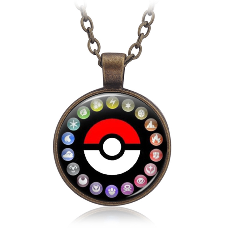 Anime Pokemon Go Cosplay Accessories Necklace Pocket Monster Pikachu Poke Ball Glass Cabochon Pendant Time Gemstone Necklace