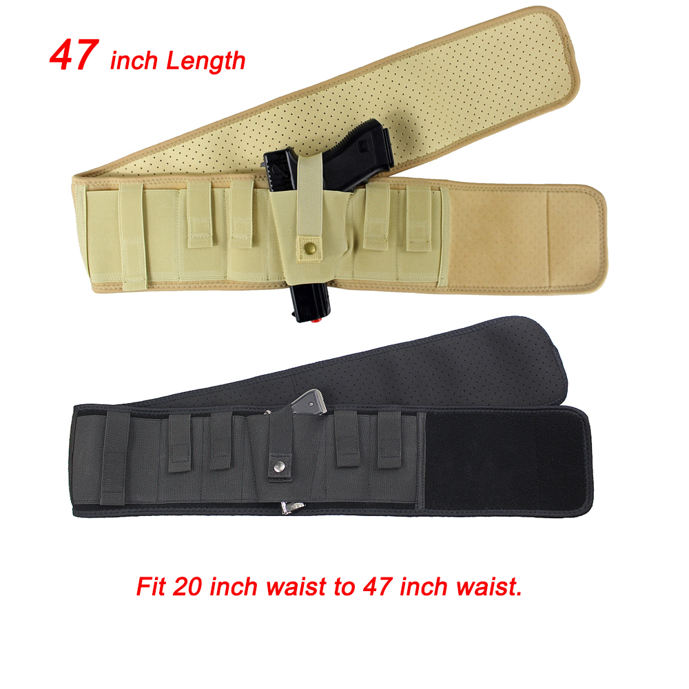 Plus Size Elite Duty Ambidextrous Belly Band Holster for Concealed Carry Black