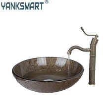 BrownRound Tempered Glass Vessel Sink With Antique Brass Bathroom Faucet And Pop Up Drain Bathroom Sink Set DD425396006(China)