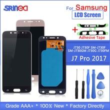 สำหรับ Samsung Galaxy J7 Pro 2017 J730 J730f จอแสดงผล Lcd และระบบสัมผัสหน้าจอ Digitizer Assembly ปรับกาวเครื่องมือ