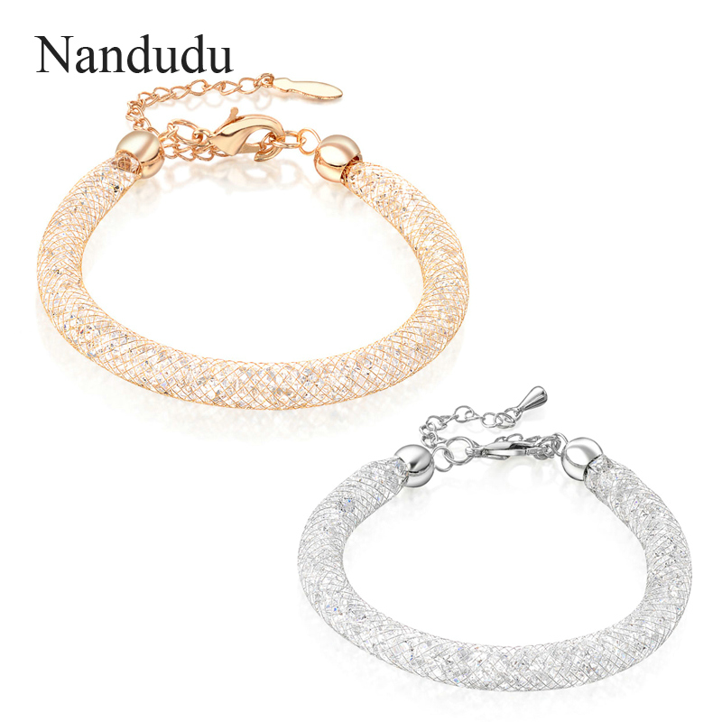 Nandudu Rose Gold Silver Color Mesh Austrian Crystal Female Bracelet New Fashion Pulseras for Girl Women