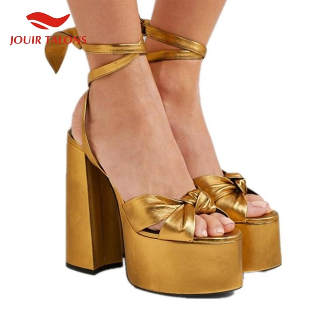 Big size Luxury brand leather Women shoes Super high heel platform shoes woman pump sexy party wedding brides sandals woman 2019