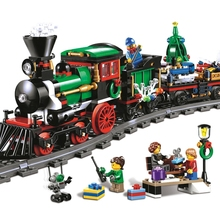 Купить с кэшбэком 770pcs 36001 Model building kits compatible with lego city The Christmas Winter Holiday Train 3D blocks model building toy 10254