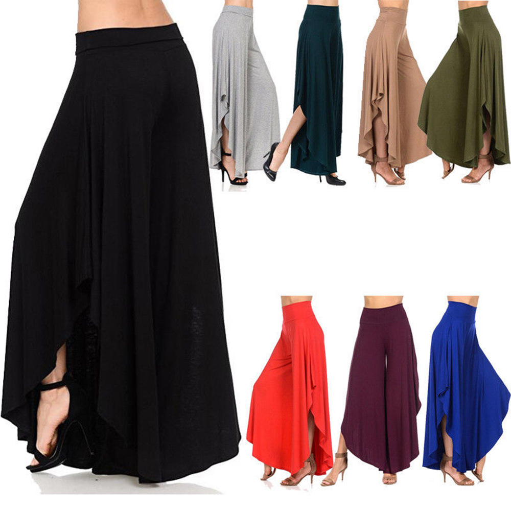 820f9cdaa5b9f Winter s Loose Pants Plus Size for Women Solid Ruffle Casual Harem dresses pant  Wide Leg Palazzo Culottes Stretch Female Clothes