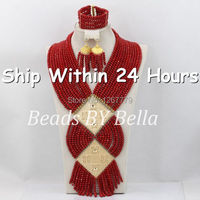 Luxury Red Crystal Beads Jewelry Set African Costume Necklace Set Wedding Jewelry Set For Brides Free Shipping ABC473