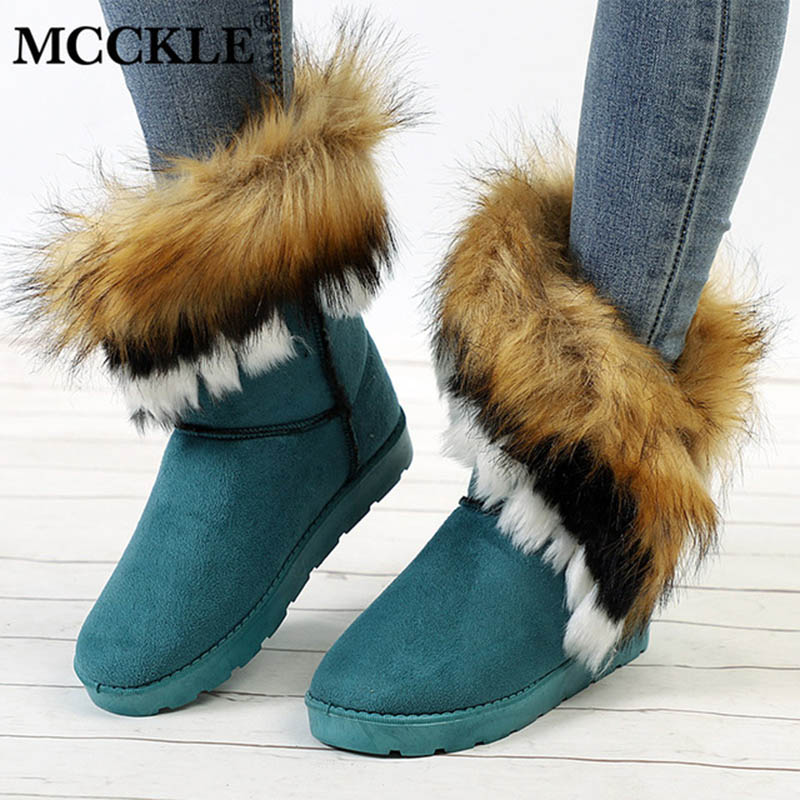 MCCKLE Ladies Faux Fur Warm Flat Shoes Tassels Edging Footwear Suede Women Snow Boots Sewing Slip-On Mid Calf Winter Boots наборы для шитья матренин посад набор для шитья и вышивания павлин