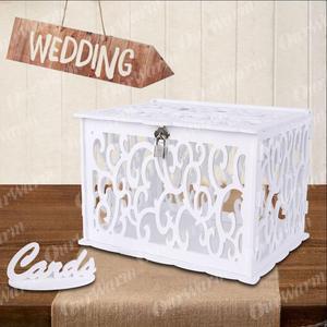 OurWarm DIY الزفاف صندوق بطاقات هدايا PVC حصالة مع قفل جميلة الزفاف الديكور إمدادات حفلة عيد ميلاد