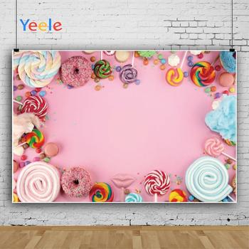 Yeele Cotton Candy Bar Lollipop Donuts Pink Birthday Photography Backgrounds Customized Photographic Backdrops for Photo Studio