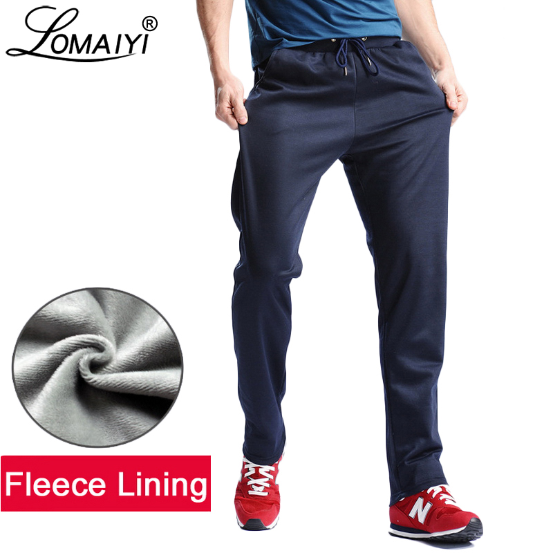 LOMAIYI Men's Fleece Lining Sweatpants Men Winter Warm Joggers Track Pants Male Bodybuilding Fitness Thick Casual Trousers BM145