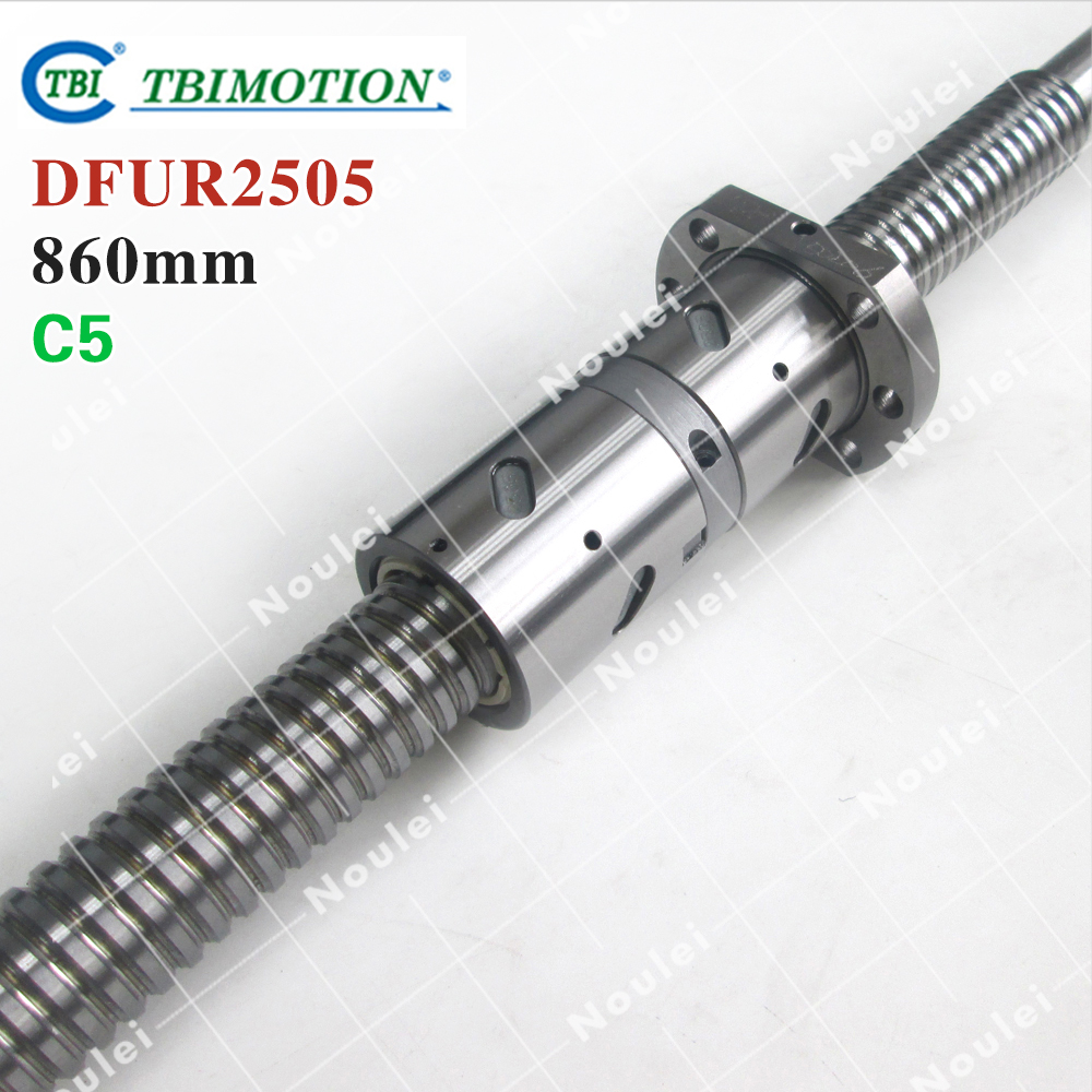 TBI 2505 C5 860mm ball screw 5mm lead with DFU2505 ballnut + end machined for CNC diy kit DFU set tbi 2510 c3 620mm ball screw 10mm lead with dfu2510 ballnut end machined for cnc diy kit dfu set
