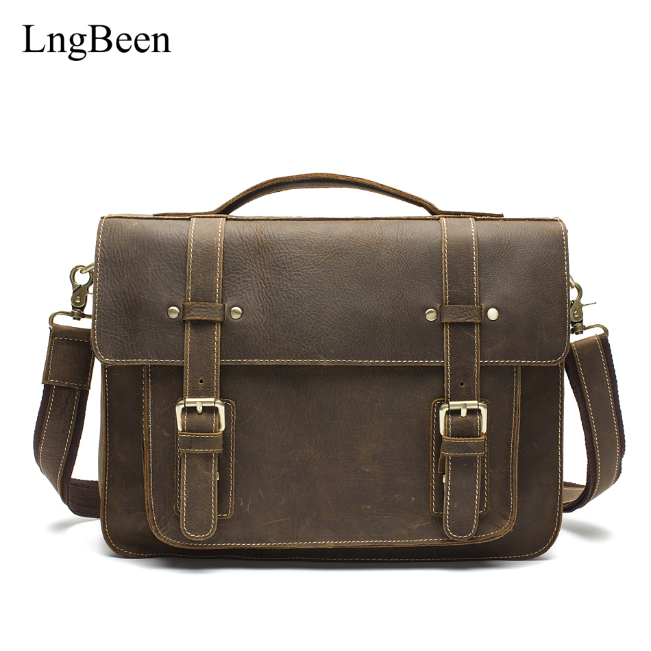 NEW Genuine Leather Coffee Men Briefcase font b Laptop b font Business Bag Crazy Horse Cowhide