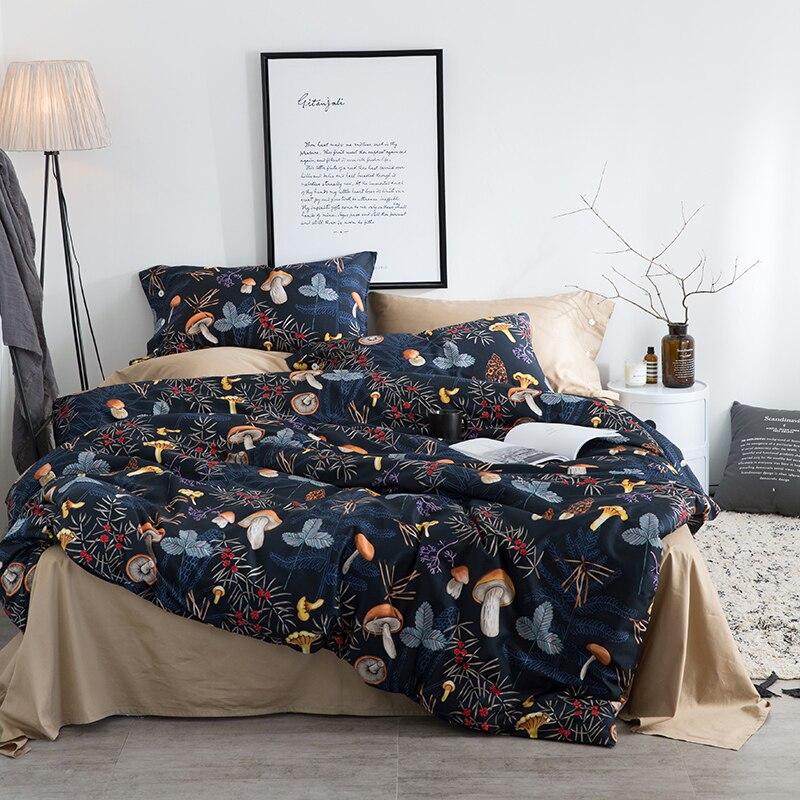 Svetanya Mushroom Bedding Sets Queen King Double Size Bedlinen 100% Egyptian Cotton Duvet Cover Set