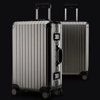 New 20 24 29 Inch Rolling Luggage 100% Aluminium Trolley Solid Travel Bag 20' Women Boarding Bag Carry On Suitcases Trunk