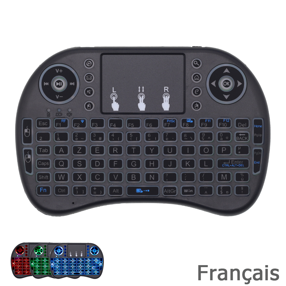 I8 RGB Backlit French Keyboard 2.4G Mini Wireless Keyboard With Touchpad Mouse For Android TV Box, Mini PC, H96 TV Box, AZERTY