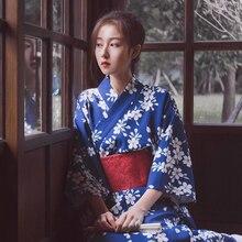 Blue Classic Ladies Kimono Print Flower Dress Gown Cosplay Costume Japanese Traditional Yukata With Obi Elegant Long Robe S M