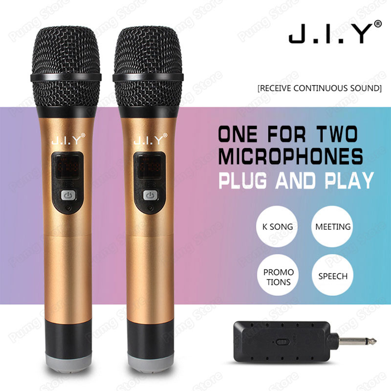 JIY métal Double Microphone sans fil mélangeur professionnel audio U bande Microphones pour karaoké ordinateur TV Plug and play réunion
