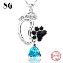 100% 925 sterling silver cute animal dog foot print pendant chain necklace with CZ&enamel diy fashion jewelry making women gifts